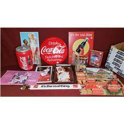 Box Lot - Coca Cola Theme : Repro Small Coca Cola Button, Tray, Small Repro Signs, Metal Rack Sign,