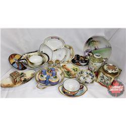 Box Lot - Oriental Theme : Saki Cups, Plates, Cruet Set, Bowls, Tins