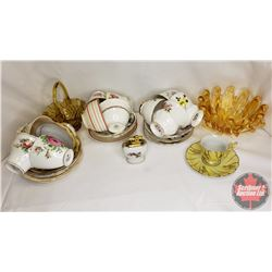 Tray Lot : 12 Tea Cups & Saucer Sets, 2 Yellow Alta Glass Dishes, Demi Tasse Cup & Saucer, Lighter