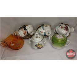 Tray Lot : 12 Tea Cups & Saucer Sets , Sugar Bowls, Amber Carnival Glass Dish