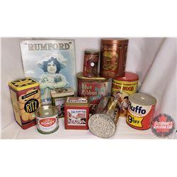 Box Lot : Variety Tins (Magic, Blue Ribbon, Robin Hood, Fluffo, etc) & Repro Rumford Baking Soda Sig