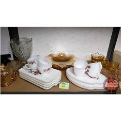 Shelf Lot : Clear Iris & Herring Bone Pitcher, Marigold Iris & Herring Bone Cream & Sugar, Marigold