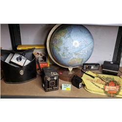 Shelf Lot - Travel Theme : Desk Globe, 5 Vintage Cameras, WENZEL Eagle Traveler Water Bag