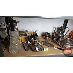 Shelf Lot : Large Collection Silver Service & Décor Items