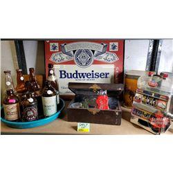 Shelf Lot - Bar Theme : Budweiser Framed Sign, Tray Misc Beer Bottles, Dubble Bubble Gumball Slot Ma