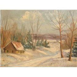 Oil original painting Winter Glory Scene signed S.T. - petite vieille peinture huile Gloire d'hiver