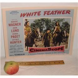 Very old USA Cinema Lobby Card movie Western White Feather 1955 - vieille affiche cinéma