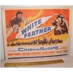 Another Very old USA Cinema Lobby Card movie Western White Feather 1955 - vieille affiche cinéma