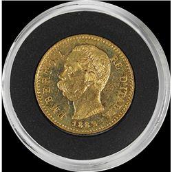 1882 ITALY 20 LIRA GOLD