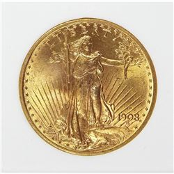 1908-D MOTTO $20.00 GOLD