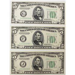 THREE 1934-C $5.00 FEDERAL RESERVE NOTES:
