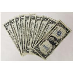10 PCS. 1934 $1.00 SILVER CERTIFICATES