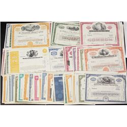 100 MIXED LARGE STOCK CERTIFICATES