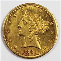1891-CC $5.00 GOLD RARE!