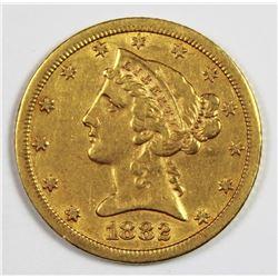1882-CC $5.00 GOLD RARE!