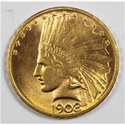 1908-D $10.00 GOLD NO MOTTO