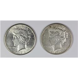 1926 AND 1926-D PEACE SILVER DOLLARS