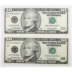 1999 $10.00 DALLAS & PHILADELPHIA STAR NOTES