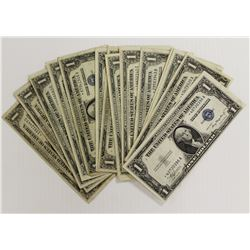 22 PCS. 1935 $1.00 SILVER CERTIFCATE STAR NOTES: