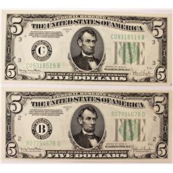 TWO 1934-D $5.00 FEDERAL RESERVE NOTES: