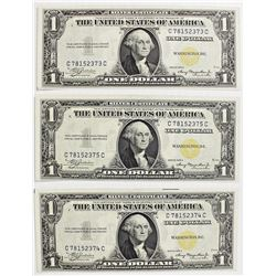 (3) 1935-A $1.00 NORTH AFRICA SILVER CERTIFICATES