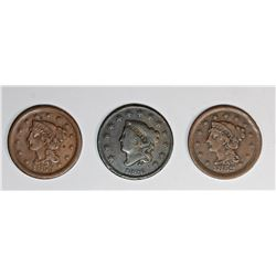 1852, 1853, AND 1826 U.S. LARGE CENTS