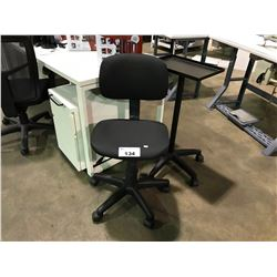 BLACK OFFICE STENO CHAIR & BLACK METAL MOBILE CART