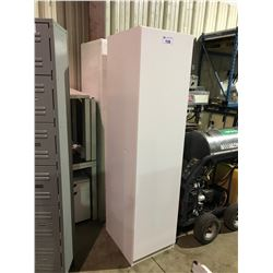 """PAIR OF WHITE SINGLE DOOR 24""""D X 20""""W X 79""""H OFFICE WARDROBE CABINETS ( DAMAGE ON SIDES )"""