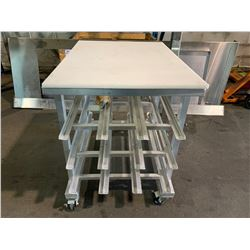 "ALUMINUM 35""D X 25""W X 33""H MOBILE 3 TIER TRAY RACK WITH PLASTIC WORK TOP"
