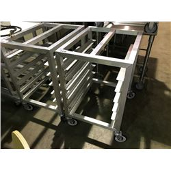 "ALUMINUM 26""D X 21""W X 33""H MOBILE 6 TRAY BAKERS RACK"