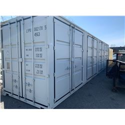 BRAND NEW 40FT STORAGE SHIPPING CONTAINER WITH 4 SIDE DOORS AND 1 REAR DOOR