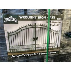 2020 GREATBEAR 14FT BI-PARTING WROUGHT IRON GATE WITH STANDARD DESIGN