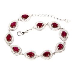 Pear Red Ruby 6x4 MM Bracelet