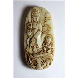 Old Natural Jade Hand Carved Buddha Guanyin Pendant