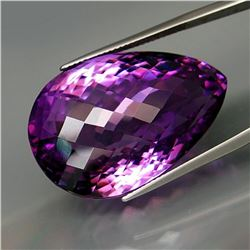 Natural Amethyst Pear Checkerboard 74.13 Ct - Untreated