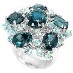 Natural Sky & London Blue Topaz 60 Carats Ring