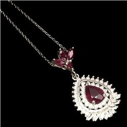 Pear Red Ruby 9x7 MM Necklace