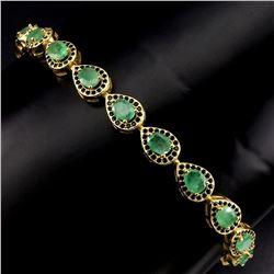 Natural  Green Columbian  Emerald Black Spinel Bracelet