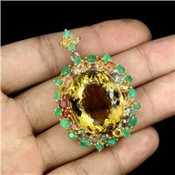 Natural Citrine Emerald Sapphire 122 Ct Pendant Brooch