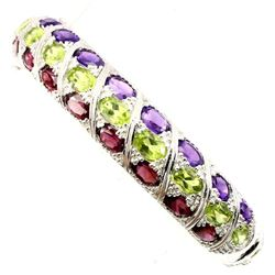 Natural Peridot Amethyst Rhodolite Garnet Bangle