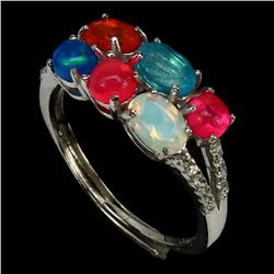 Natural Multi Color Opal Ring