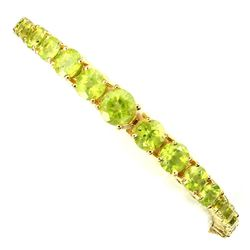 Natural  Rich Green Peridot 75.03 Cts Bracelet