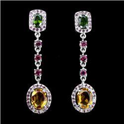 Natural Citrine Chrome Diopside Garnet Earrings