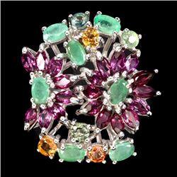 Natural Columbian Green Emerald Garnet Sapphire Ring