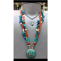 Tibet Hand Made Natural Turquoise & Coral Necklace