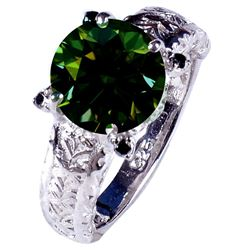 SPARKLING 3.3 CT EMERALD GREEN DIAMOND