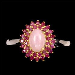 Natural Unheated Oval Pink Opal & Ruby Ring