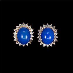 Oval Blue Fire Opal 10x8 MM Earrings