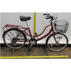 """MK Lifestyle Marukin Floatmix 22"""" Red Girl's Bike w/ Basket & Back Rack"""