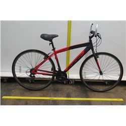 Hyper Spin Fit 700C Black Red Men's Hybrid Mountain Road Bike